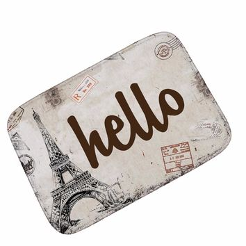 Autumn Fall welcome door mat doormat MDCT Vintage Eiffel Tower Envelope Entrance Floor Mats Soft Suede Hello Welcome Home Floormats s Area Rugs and Carpet AT_76_7