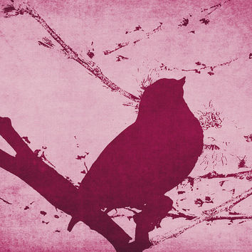 Bird on a Branch in Pink, Abstract Unique Artwork, Coffeeshop Art, Nature Lover decor, For Her, Gift Idea, Maroon Decor, Girl Nursery, Teen