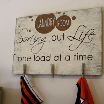 Sorting Out Life One Load At A Time Laundry Room Sign Wood Pallet Sign Rustic Chic Laundry Sign Primitive Wood Sign Shabby Chic Decor