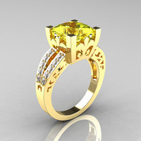 French Vintage 14K Yellow Gold 3.8 Carat Princess Yellow Topaz Diamond Solitaire Ring R222-YGDYT