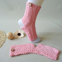 Pink yoga socks. Organic cotton knit yoga socks. YOGA / SPA / PILATES socks.
