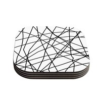 "Trebam ""Paucina V3"" White Black Digital Coasters (Set of 4)"