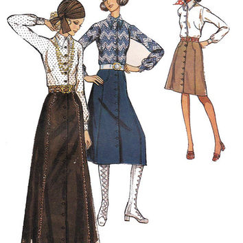 Boho Skirts & Blouse 1970s Vintage Sewing pattern Style 2990 Size 10 Bust 32 1/2