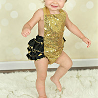 Black & Gold Sequin Sparkle Polka Dot Baby Bubble Ruffle Romper Sun Suit & Headband Set