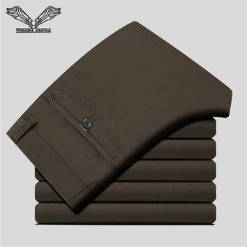 VISADA JAUNA Solid Color Business Men Pants Brand Clothing Trousers Casual Pant 2017 New Arrival Pure CottonTrouser N1379