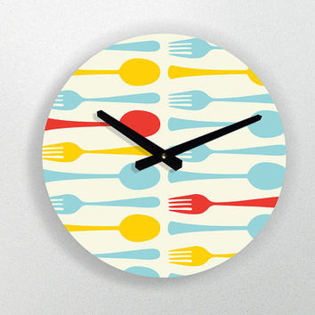 "Kitchen Art - Modern large round wall clock - 11"" Diameter - No Ticking Sound"
