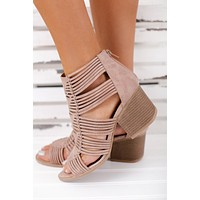 Sweetest Treat Strappy Booties (Warm Taupe)