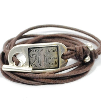 mens leather bracelet * rustic bracelet for men * brown leather bracelet * wrap bracelet * gifts for men * gifts for dad * unisex bracelet