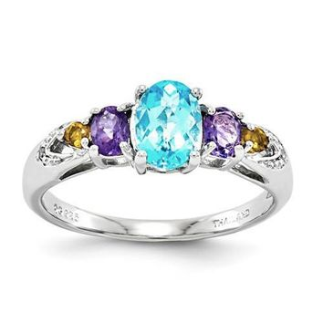 Sterling Silver Light Swiss Blue Topaz, Amethyst, Citrine & Diamond Ring