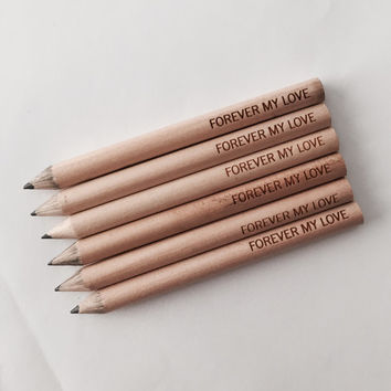 custom engraved personalized pencils set of 6. One quote. cutie sized golf pencils.