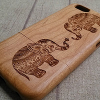 Elephant design  wood gift iPhone 6 case, waves of the sea iphone 6plus wood case, iphone 5 case, iphone 5c case,iphone 4 case