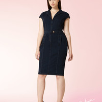 Denim jersey tube dress, dark navy - DARSEN Marina Rinaldi