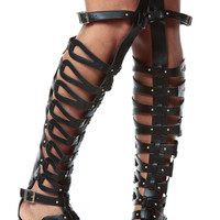 Black Faux Leather Thigh High Gladiator Sandals
