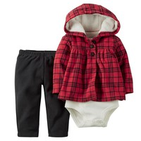 Carter's Plaid Hooded Cardigan Set - Baby Girl, Size: