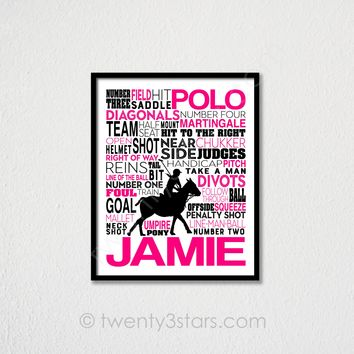 Polo Typography Wall Art - Choose Any Colors - twenty3stars
