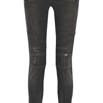 Balmain - Moto-style distressed mid-rise skinny jeans