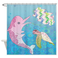 Dolphin and Sea Turtle Shower curtain - Undersea Friends, ocean ,turtle, fish, blue, pink, undersea, decor, bath, home, kids