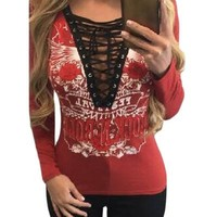 Chicloth Red Printed Lace Up V Neck Long Sleeve Shirt
