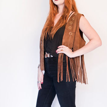 Vintage 1960s FRINGE Leather Vest - Brown Suede Hippie Boho Top - 60s / 70s