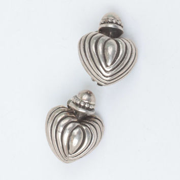 Heart Earrings Sterling Silver Chunky Clip On Vintage