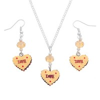 MJartoria Love Mousse Cake Pendant Adjustable Cuban Chain Necklace with Matching French Wire Earrings