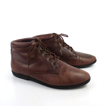 Granny Boots Vintage 1980s Danexx Brown Leather Lace Up  Women's 5 1/2 M