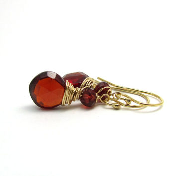Gold garnet earrings, red gemstone jewelry. January birthstone earrings, red garnet jewelry, wire wrap earrings, handmade red drop earrings