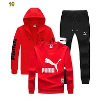 PUMA Fashion Women Men Print Cardigan Jacket Coat Sweater Pants Trousers Set Three-Piece Sportswear