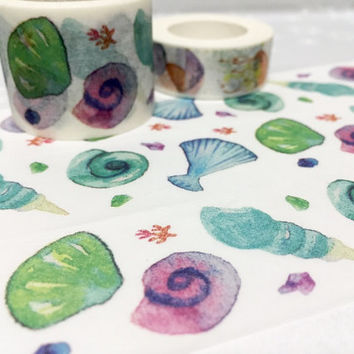 Colorful sea shell washi tape 7M x 3cm ocean seashell beach shell masking tape Watercolor sea shell sticker tape sea shell decor tape gift