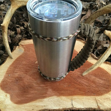 Brown/Camo Paracord Yeti 20 oz. Rambler Handle Grip