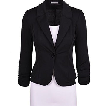 Auliné Collection Women's Casual Work Solid Color Knit Blazer Black 4X