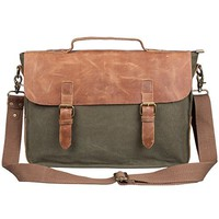 S-ZONE Retro Canvas Leather Messenger 13-inch Laptop Shoulder Bag