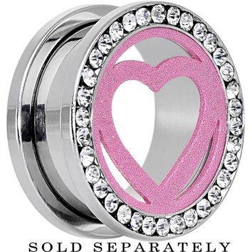 20mm Stainless Steel Clear Gem Pink Heart Tunnel Plug