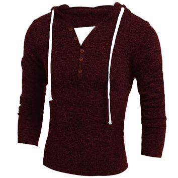 New BBYES Autumn Winter Warm Mens Brand Knitted Sweater Thick Full Sleeve Hooded Pullover Men Jumpers V-Neck Sweaters Men