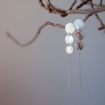 Extra long sterling silver dangling earrings by oblissjewellery