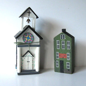 Pair of wooden vintage Buildings, Toy Village, Church, Home Decor, Vintage Collectibles, NCE, Holiday Decor