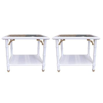 Pre-owned Lane Furniture Faux Bamboo Side Tables - A Pair