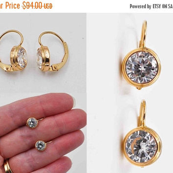 ON SALE Vintage 14K Yellow Gold & Crystal Pierced Earrings, Open Back, Pointed Back, Bezel Set, Faceted, Dangle, Drop,Lever Back, Wow! #b847
