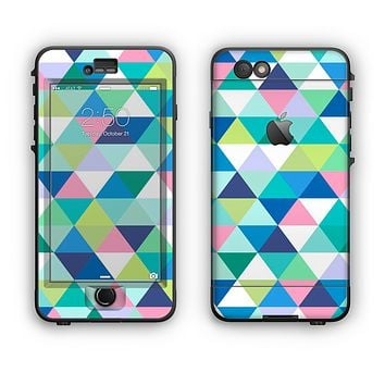The Vibrant Fun Colored Triangular Pattern Apple iPhone 6 Plus LifeProof Nuud Case Skin Set