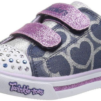 Skechers Kids Twinkle Toes Shuffles Sweet Steps Light-Up Sneaker (Toddler/Little Kid) Denim/Lavender Toddler (1-4 Years) 9 M US Toddler '