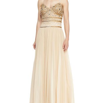 Women's Spaghetti Strap Beaded Bodice Gown, Antique Gold - Aidan Mattox - Antique gold