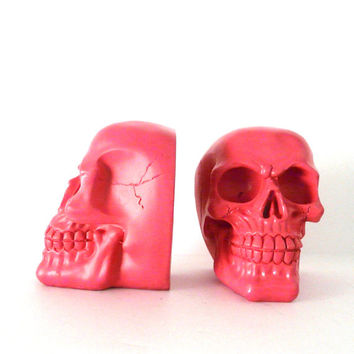 skull bookends, modern home decor, hot pink, bookend set, desk accessories