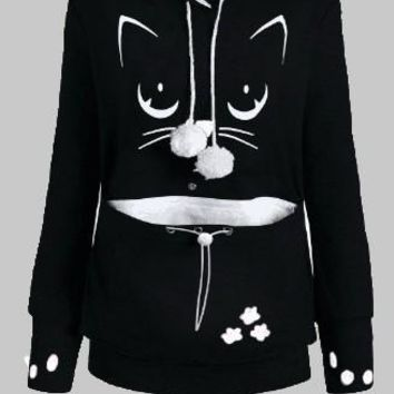 Black Cat Print Pockets Drawstring Cat Footprints Dog Carrier Hoodie Cute Pullover Sweatshirt