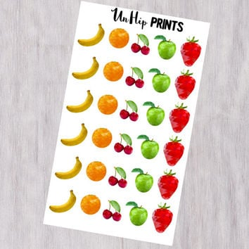 Fruit Planner Stickers, Food planner stickers, Healthy planner stickers, Fun stickers, cute stickers, Healthy Food Planner Stickers
