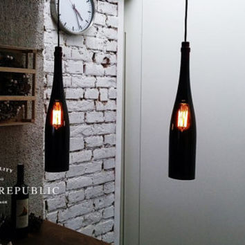 Bottle Lamp - Lighting - Industrial Style Black Extra Large Bottle Hanging Lamp, Pendant light, Wine bottle, Edison bulb, Hanging Light