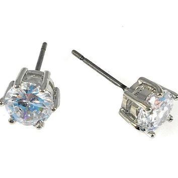 "Cubic Zirconia Earrings Round Silver Plated Stud 6mm, 0.236"" Diameter"