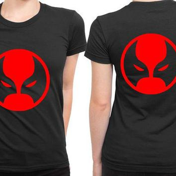 LMF1GW Deadpool Logo Classic Red 2 Sided Womens T Shirt
