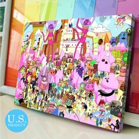Canvas Print Adventure Time Characters Collage Poster Print Wall Decor - piegabags.com