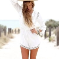 White Lace Patchwok Long Sleeve Dress