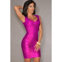 Rosy Foil Print  Backless Bandage Dress LAVELIQ